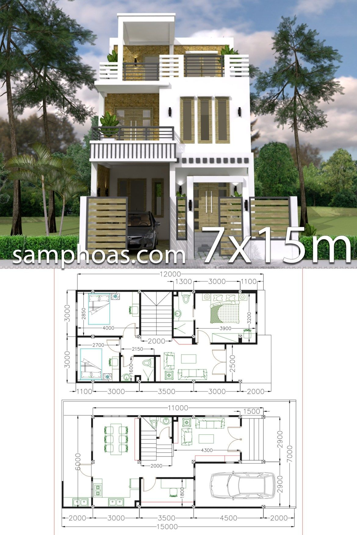 7x15m Simple Home Design Plan With 3 Bedrooms Simple House