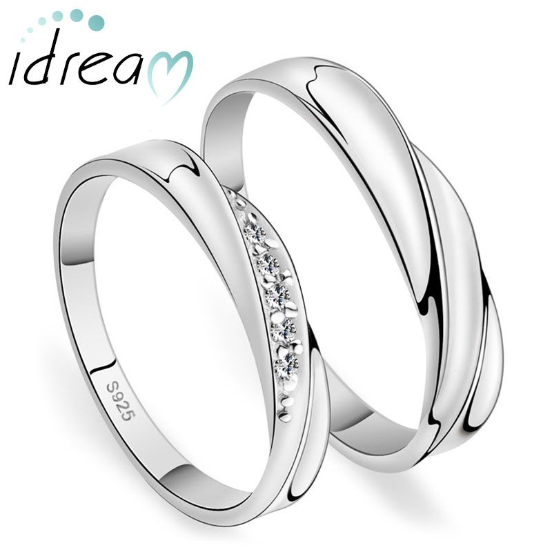 Simple Wave Promise Rings For Couples 925 Sterling Silver Wedding Ring Band With Cubic Zirconia