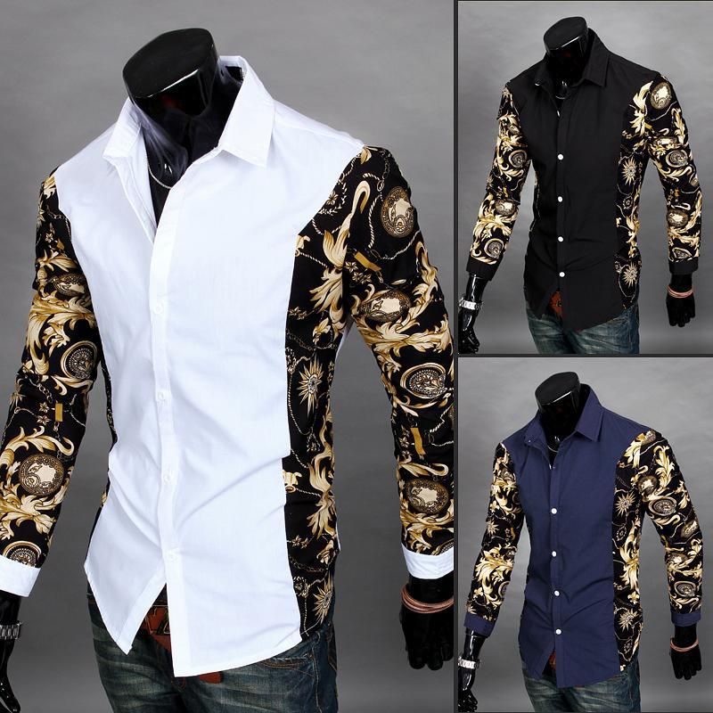 Find More Casual Shirts Information about 2016 Chemise Mens Clothes Camisa  Social Masculina Black Gold Dress Shirts White Shirt Men Printed Slim Fit  Cheap ... 301406d1080