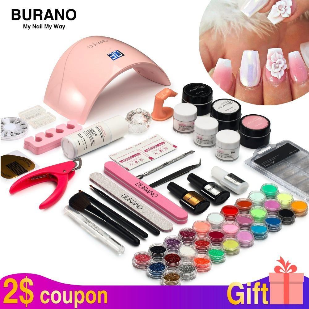 Burano New Arrive Acrylic Nail Art Set Uv Led Nail Lamp Dryer Acrylic Nail Kit Set With Lamp Nail Tools Set 011 Acrylic Nail Kit Nail Art Set Nail Kit