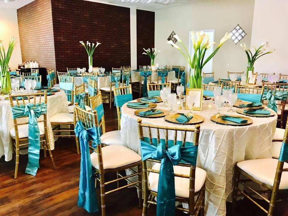 Ivory And Aqua Wedding Reception Gold Chiavari Chairs Calla Lily