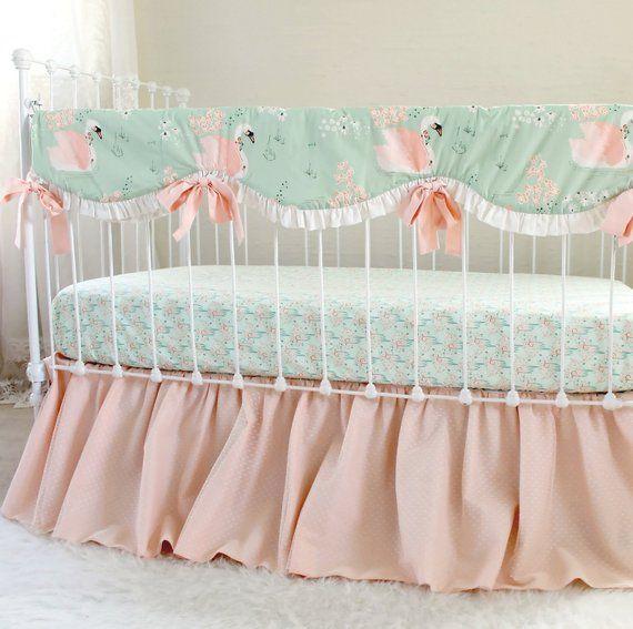 Swan Crib Bedding Perless Peach Baby Nursery Rail Cover Fl Cri