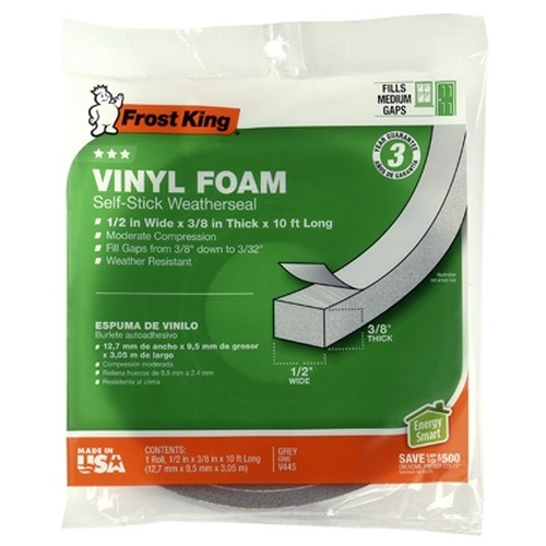 Vinyl Foam Weatherseal Tape 1 2w X 3 8 In T X 10 Ft In 2020 Weather Seal Foam Tape Vinyl