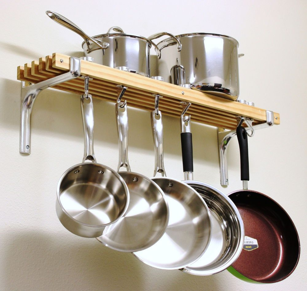 Wooden Shelf Pots Pans Hanger Wall Mount Rack Cookware Holder Storage  Organizer