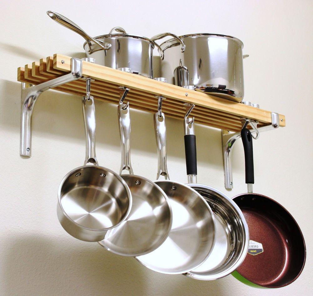 Wooden Shelf Pots Pans Hanger Wall Mount Rack Cookware Holder Storage Organizer Pot Rack Kitchen Kitchen Rack Unique Kitchen