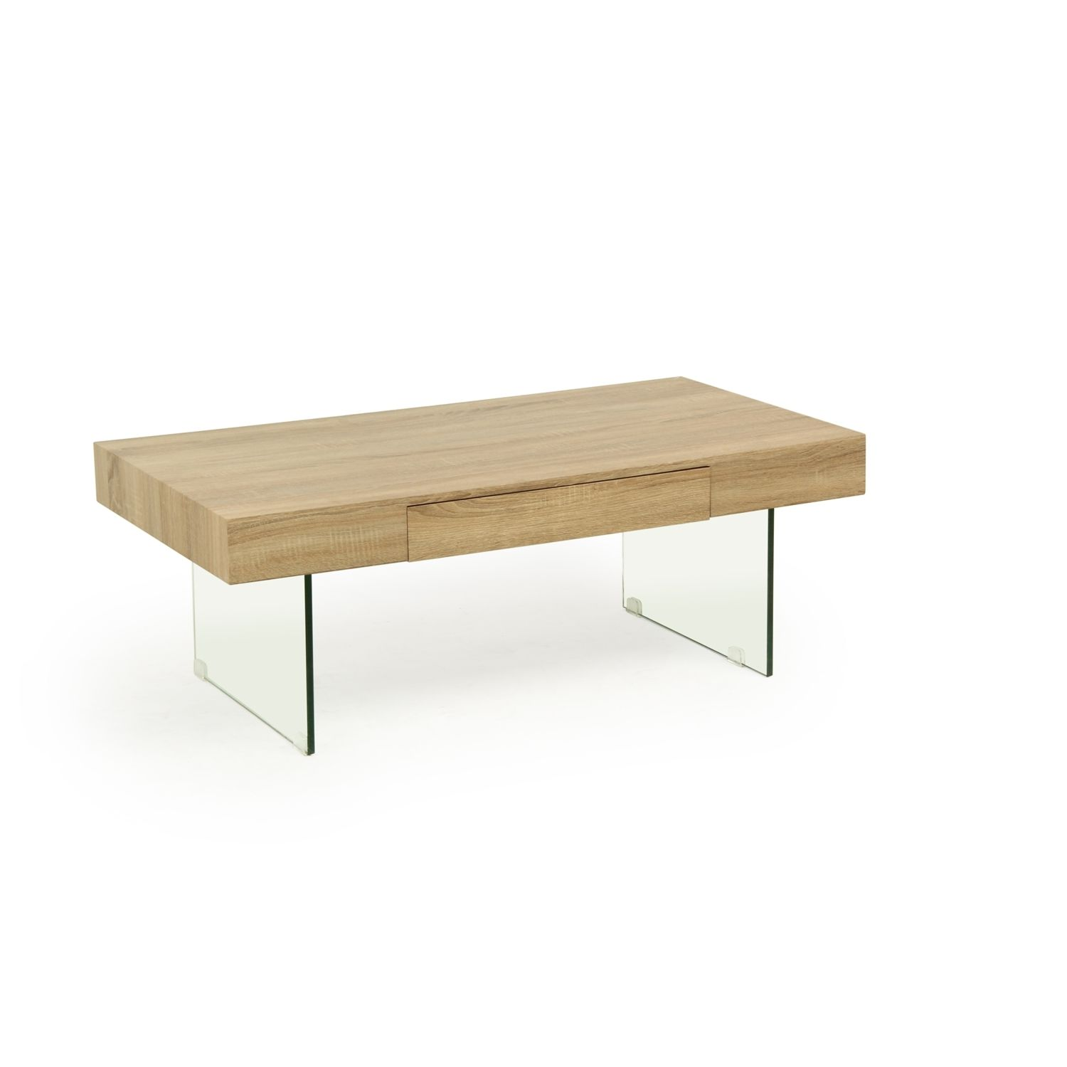 Aurora Sonoma And Glass Coffee Table