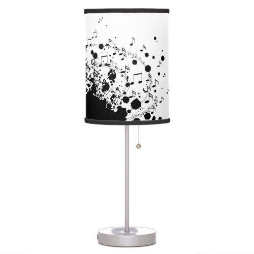 Music Explosion Design Black And White Table Lamp Zazzle Com