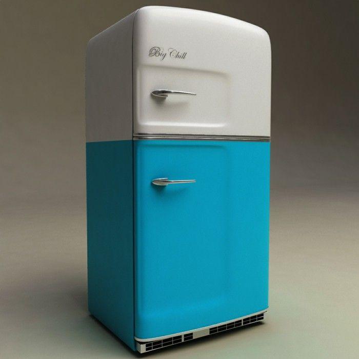 retro refrigerator brand big chill blue white vintage | Kitchen ...
