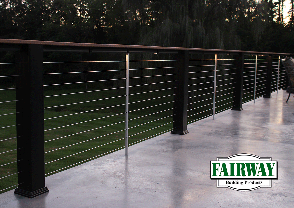 Fairway Fx2 Composite Railing with Cable Rail infill With LED ...