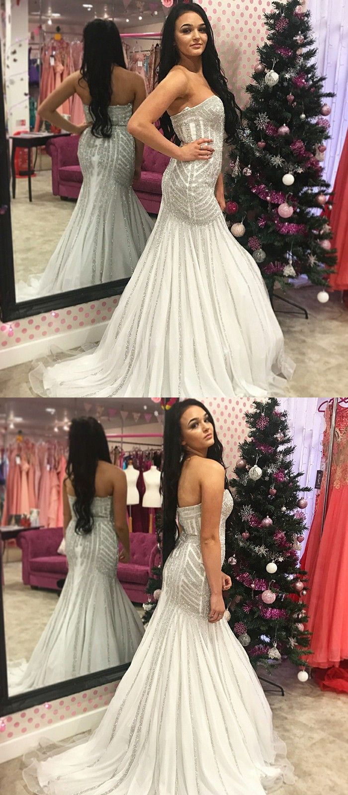 Mermaid sweetheart sweep train white prom dress with sequins in