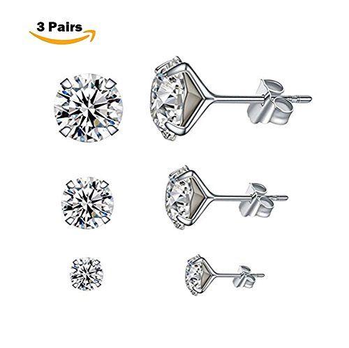 J.SHINE Stud earrings silver for women girls 3A 5mm zircon flower twist gift jewellery KpvOHi