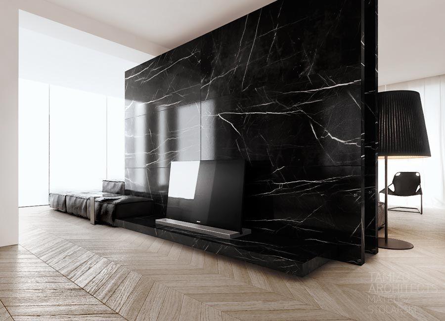 Tamizo arquitects interior design of livingroom zone in - Marmol negro marquina ...