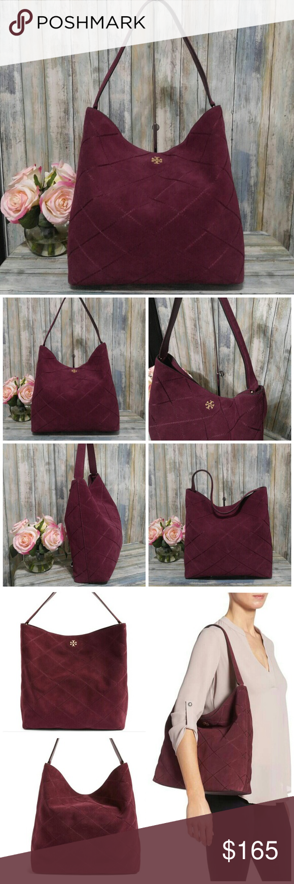 0ebc022e0b0 Tory Burch Port Suede Frida Stitched Hobo New without tags Port (dark  maroon) Tory