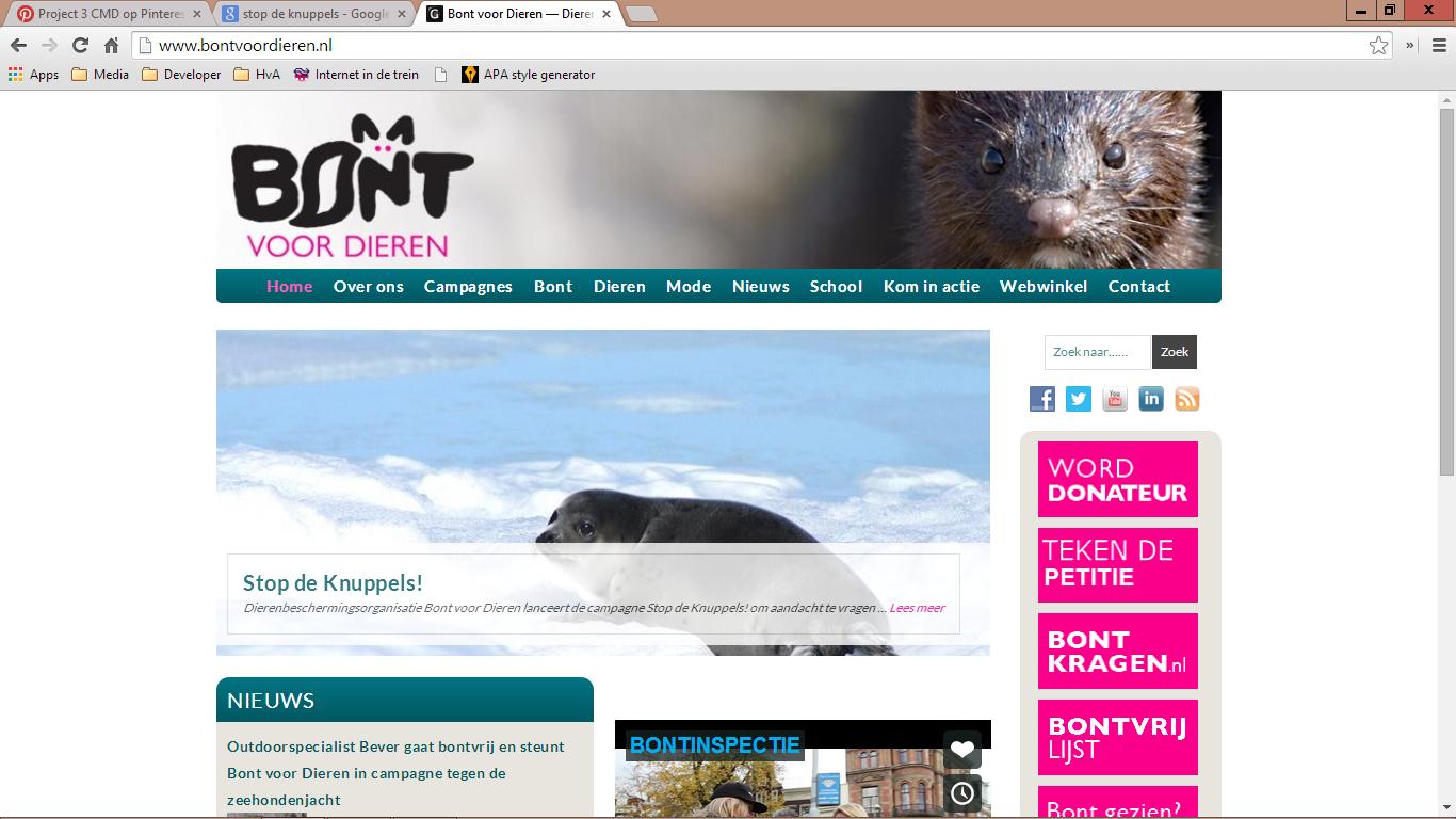 Screenshot Bont voor Dieren website (Huisstijl)