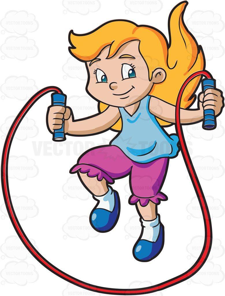 Cartoon Kids Playing Jump Rope