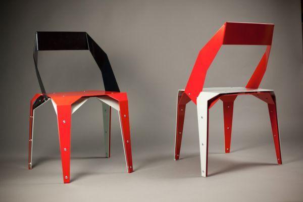 Schwarz Rot Origami Stuhl Origami Papier