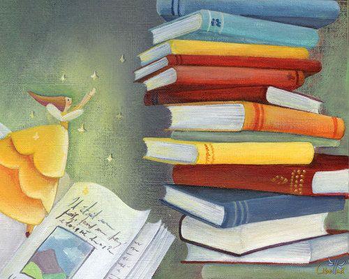 Esparciendo la magia entre los libros (ilustración de Marie Cardouat)