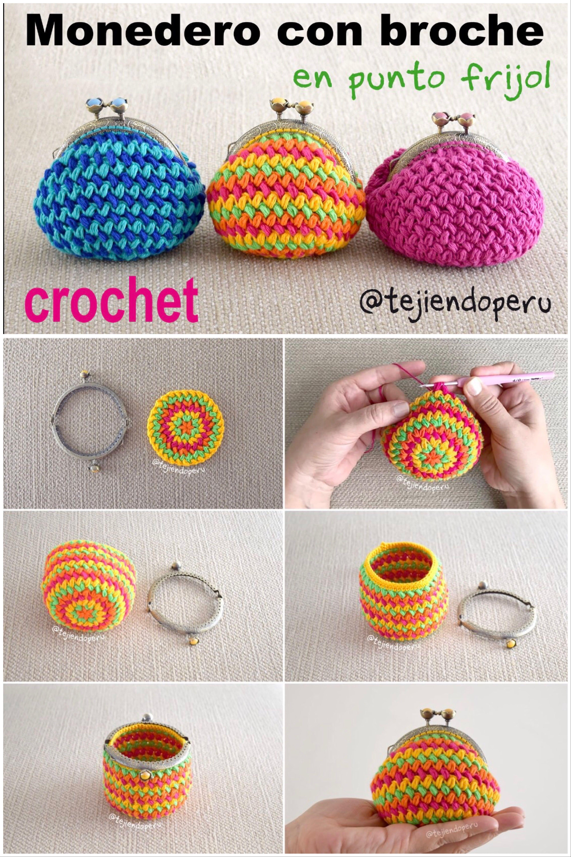 color atractivo mejor selección Venta de descuento 2019 Paso a paso: monederos de colores tejidos a #crochet en ...