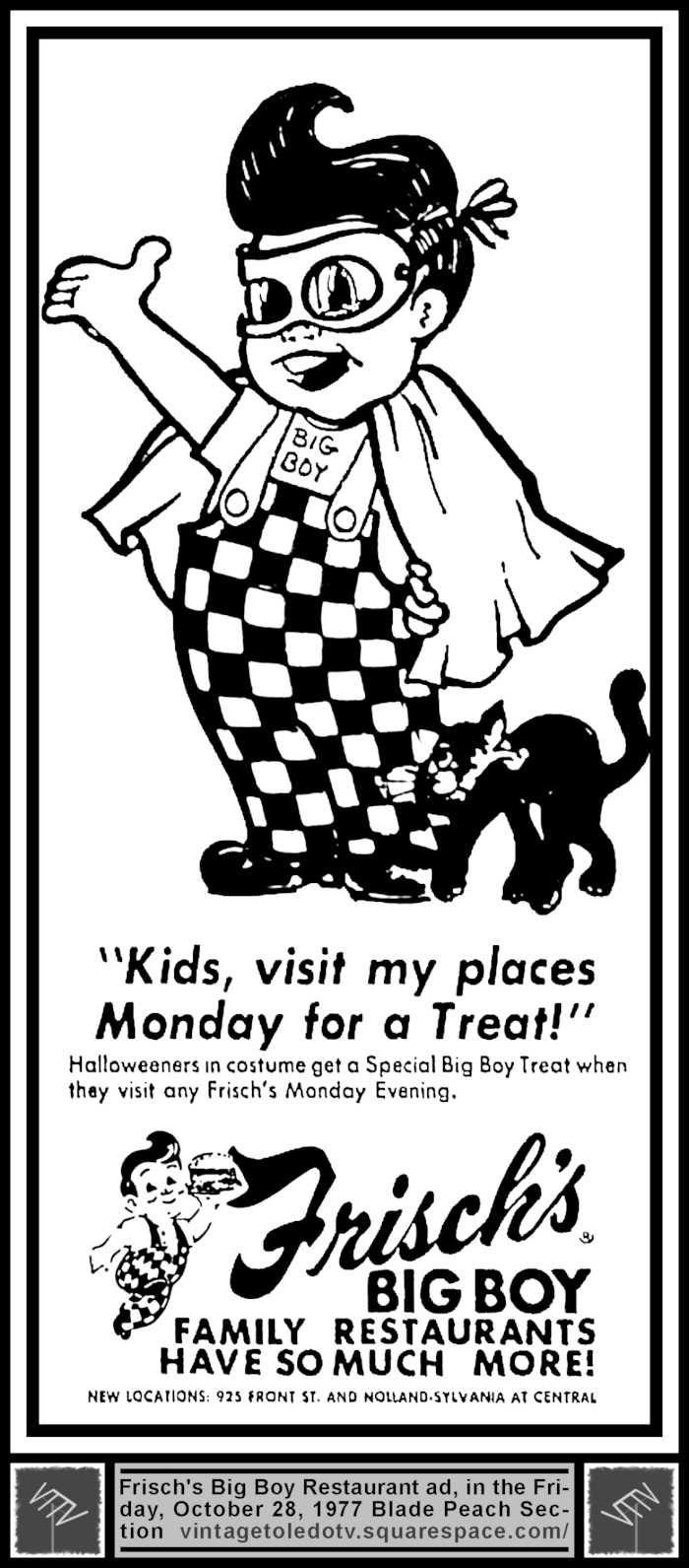 vintage toledo tv - halloween ads - frisch's big boy family