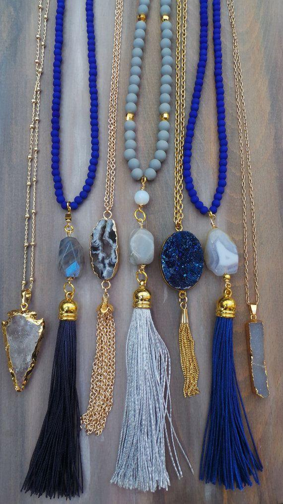 Druzy tassel necklace Gold chain tassel by