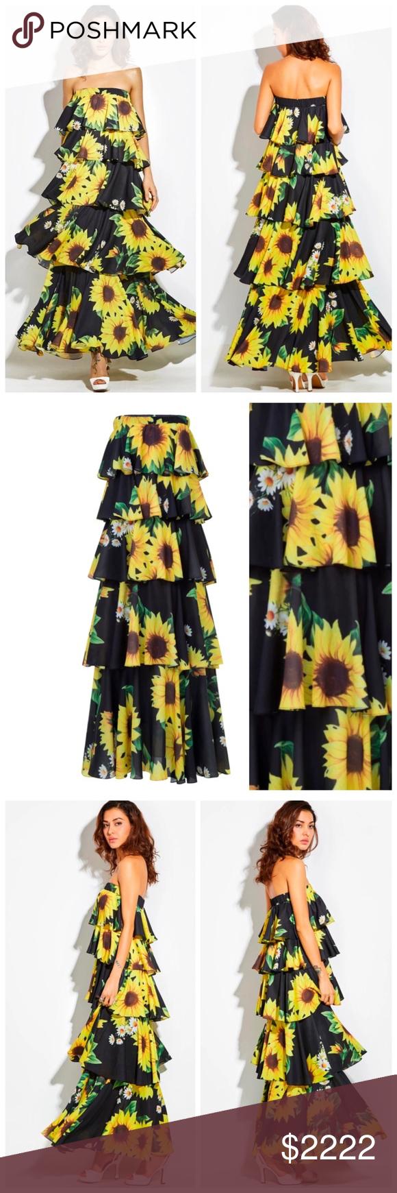 Gorgeous Layered Sunflower Maxi Dress Fashion Clothes Design Long Strapless Maxi Dress [ 1740 x 580 Pixel ]