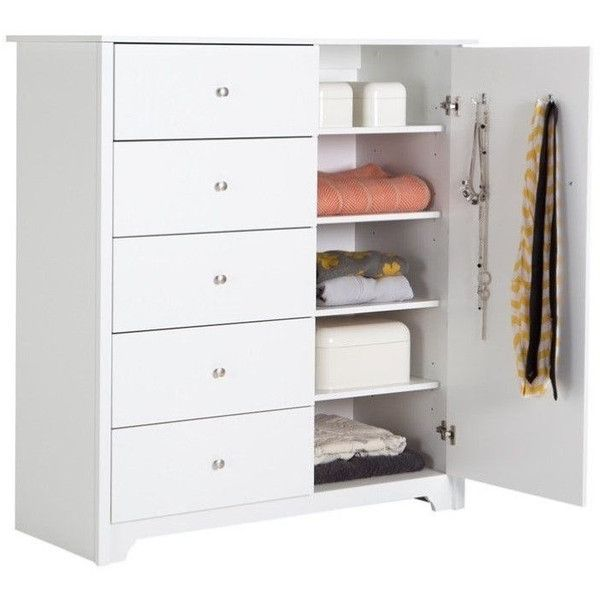 South Shore Vito 5 Drawer Chest ($351) ❤ liked on Polyvore featuring home, furniture, storage & shelves, dressers, white, south shore dresser, white drawer dresser, white furniture, 5 drawer dressers and white bedroom dresser