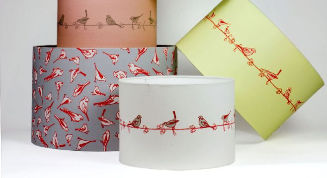 Lamp Shades Printed With Love Birds Modern Chic And Eclectic