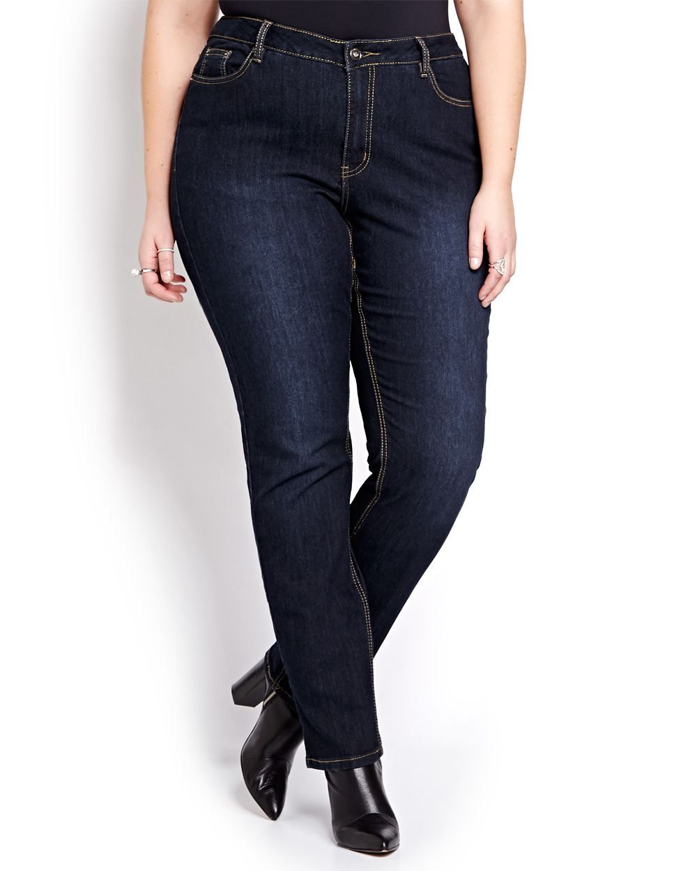 Must-have Love & Legend sculpting jeans combine stretch dark wash denim and a perfectly shaped fit that sits at the waist, gently curves from waist to hip with a slim leg and straight leg opening. Plus size, button fly, 5 pocket. 33 inch inseam. Flattering, chic and versatile!