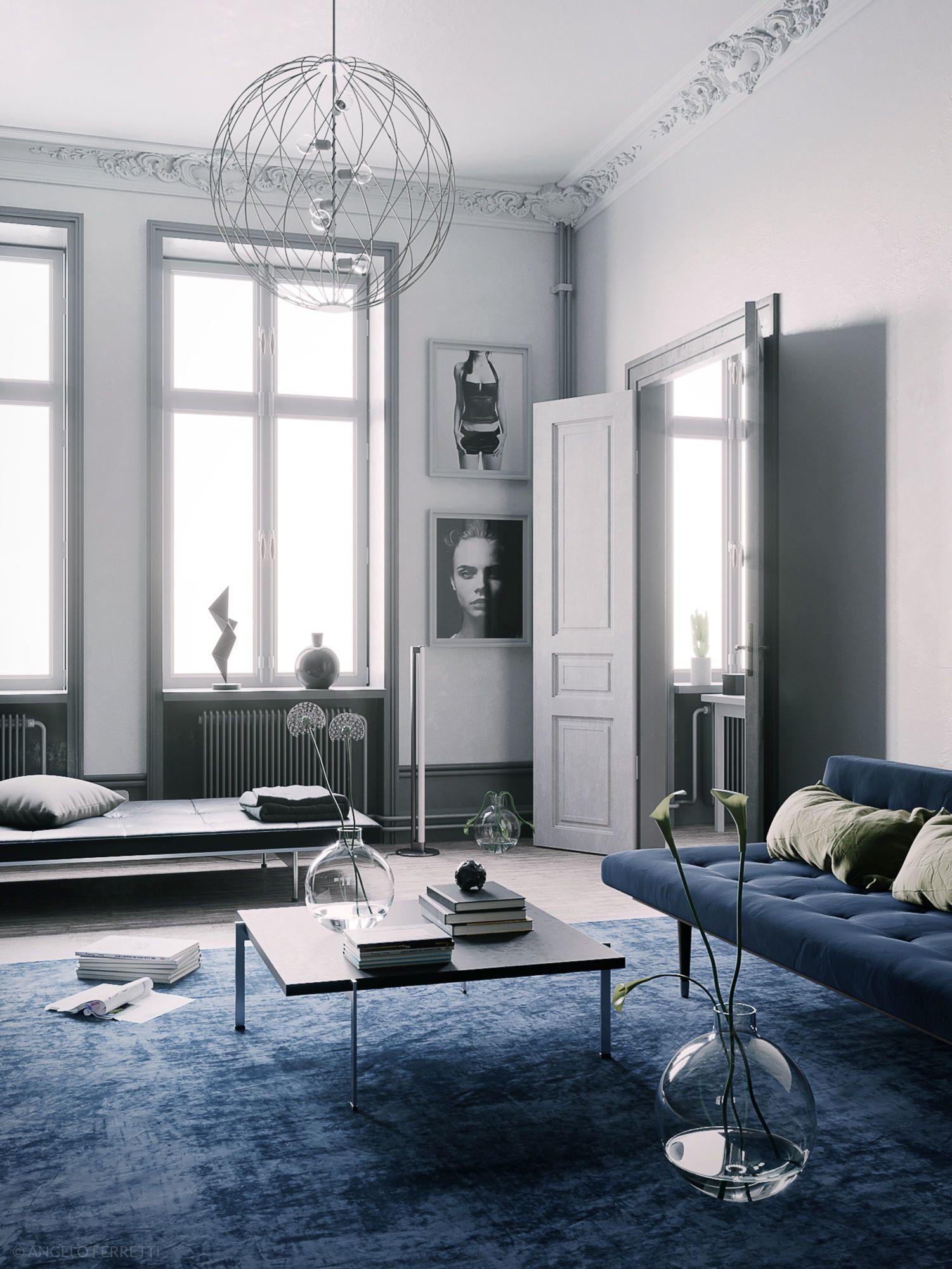Blue Scandinavian Interior Scene 3d Model Living Room Scandinavian Scandinavian Room Decor Scandinavian Interior