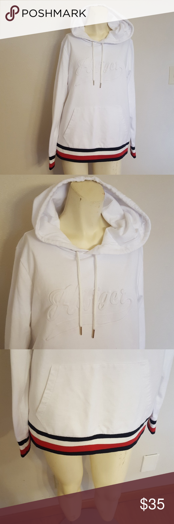 Size L Tommy Hilfiger classic white hoodie White hoodie