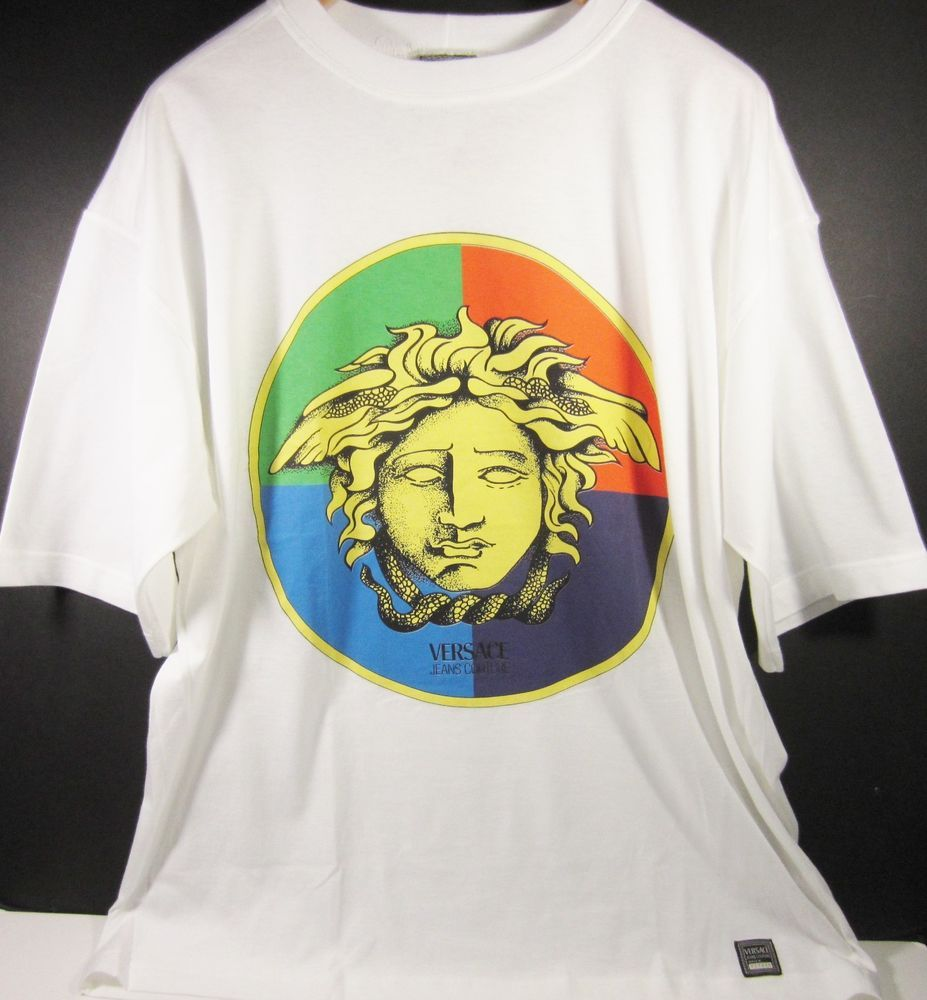 Gianni Versace Jeans Couture Medusa Men S T Shirt Made In Italy White Xl Nwt Gianniversace Embellishedtee Mens Tshirts Versace Jeans Couture Versace