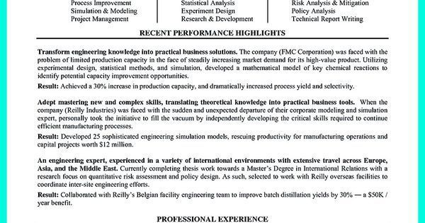 Chemical Engineering Resume Successful Objectives In Chemical Engineering Resumecheck Out