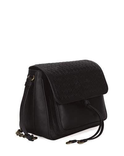 eaa114b5f13e BOTTEGA VENETA MEDIUM INTRECCIATO FLAP TIE-FRONT SHOULDER BAG.   bottegaveneta  bags  shoulder bags  leather