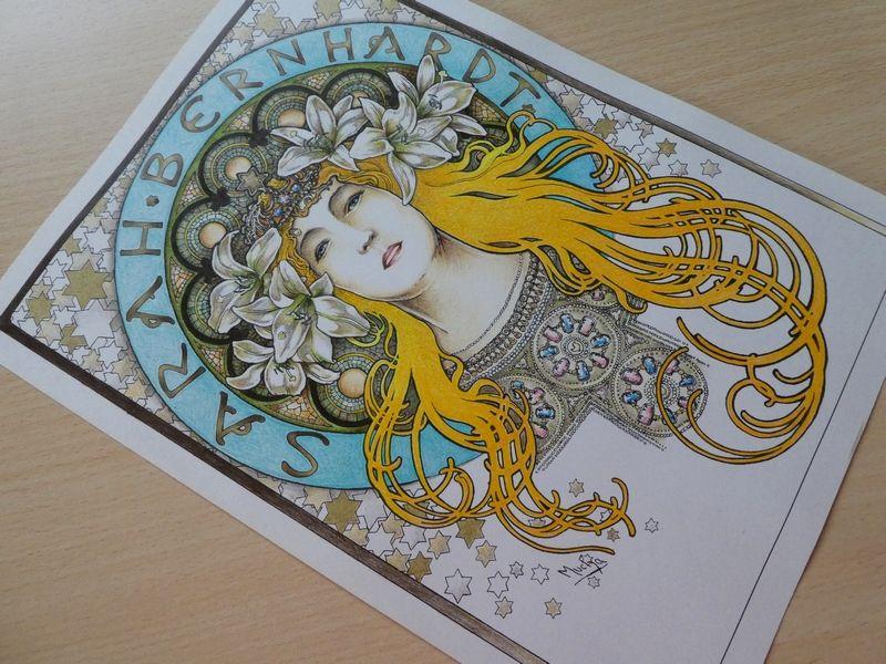 完成 クーピーでミュシャぬり絵 サラ ベルナール 塗り過程メイキング ミュシャ 大人の塗り絵 ぬり絵