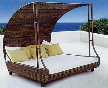 canopy daybed outdoor wicker sun sofa lounge reupholstery cane rattan deck chair pool garden furniture