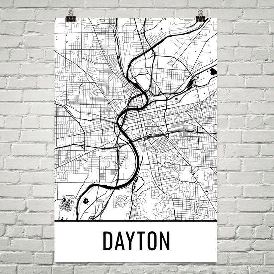 Dayton Oh Map Dayton Art Dayton Print Dayton Ohio Art Etsy City Map Art Amazing Maps Map Art Print