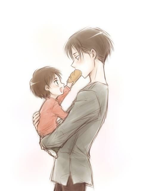 Daddy Levi and Baby Eren orz my eye are burning of cute | (Manga