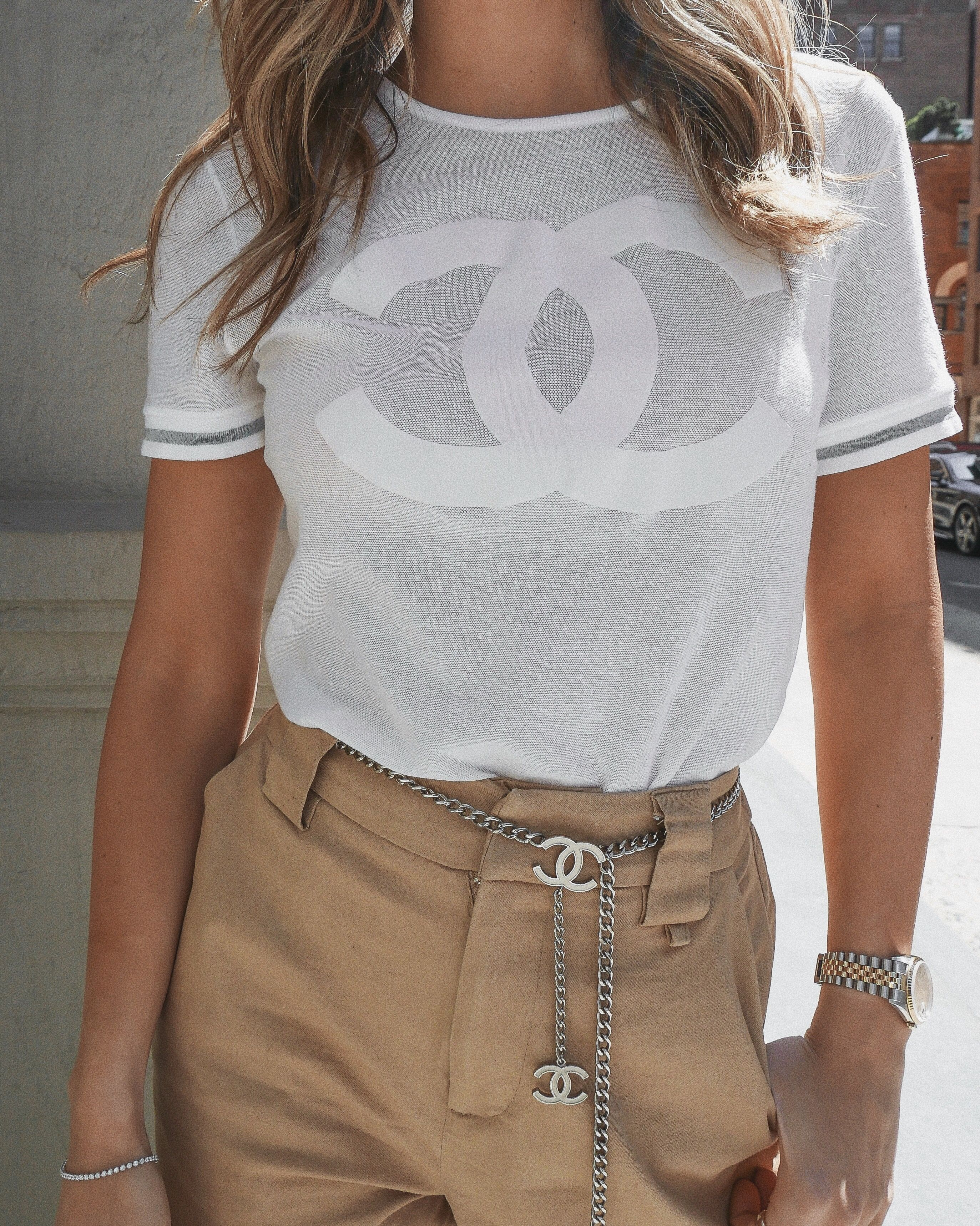 2e64985b68180f Chanel Graphic Tee - Vintage Chanel - Chanel Belt - I.AM.GIA Pants - NYC  Street Style