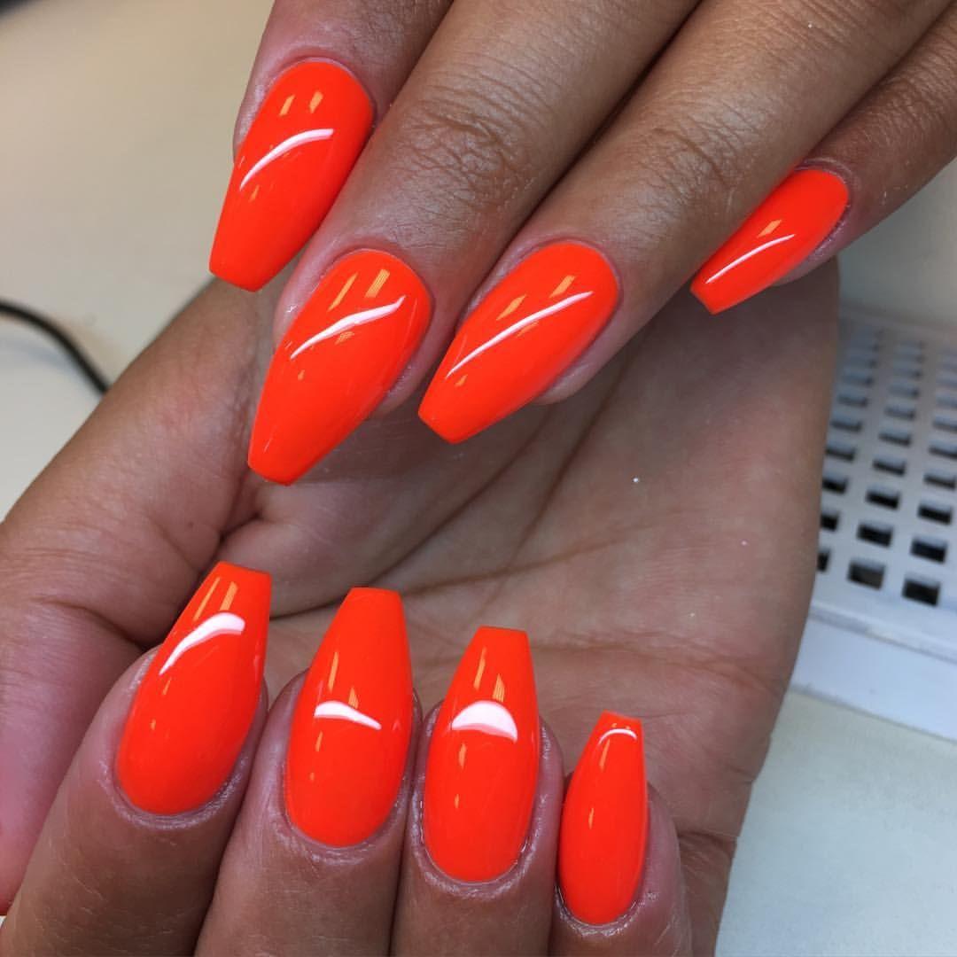 Instagram Photo By Angelina Rossi Gbg Jun 21 2016 At 6 29am Utc Orange Acrylic Nails Neon Orange Nails Red Nails