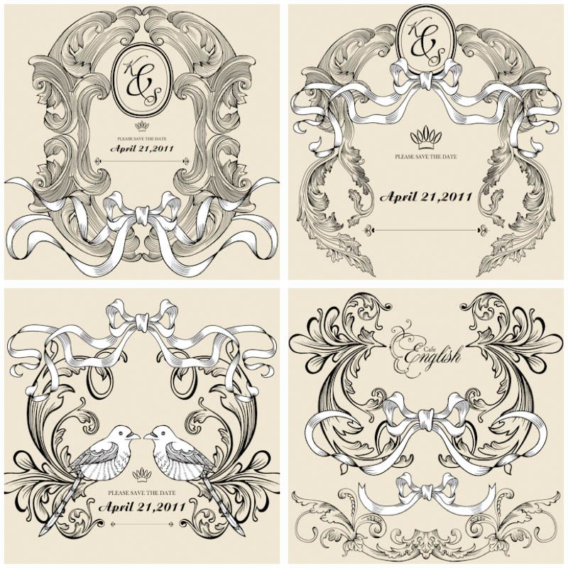 Decorative frames for wedding invitations vector vector graphics decorative frames for wedding invitations vector vector graphics blog stopboris Images