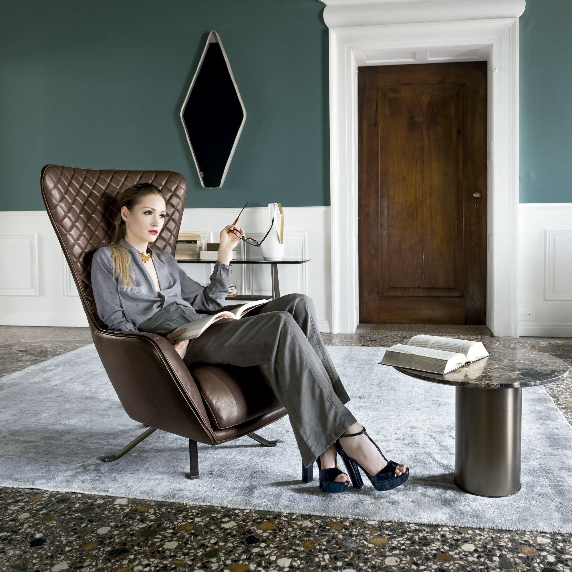 Italian Designer Upholstered Sin Seaty Lounge Chair High