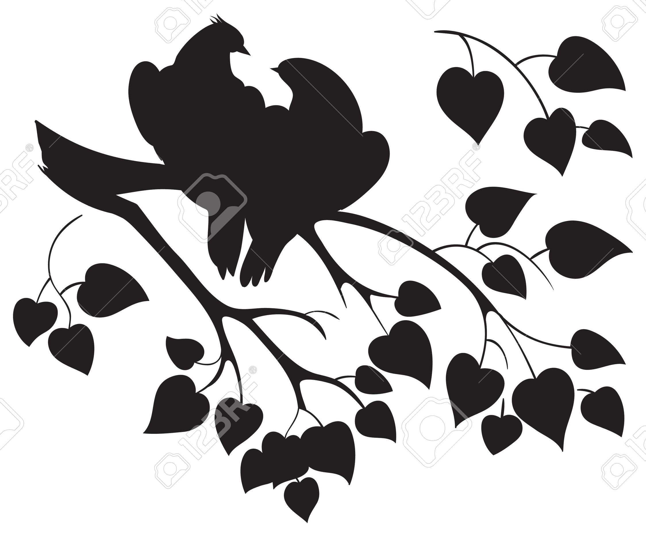 Assez Vector Silhouette D'oiseaux D'amour Assis Sur Branche D'arbre Clip  CK24