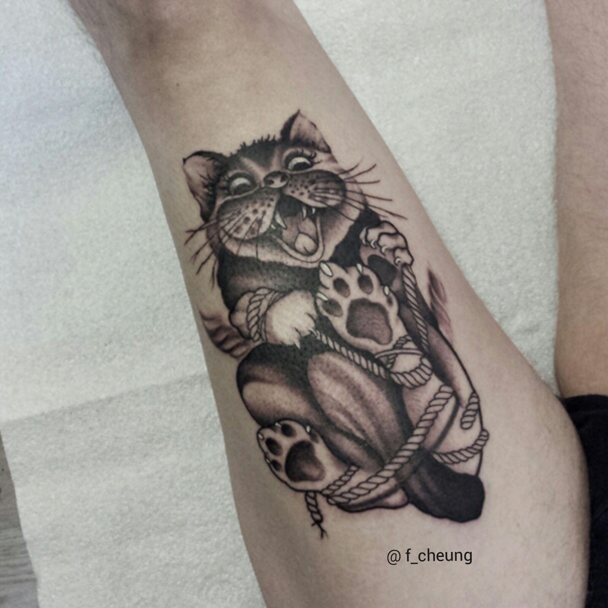 black and gray cat tattoo on upper straight , tattoo by Hong Kong ... - Tattoo Studio Dortmund
