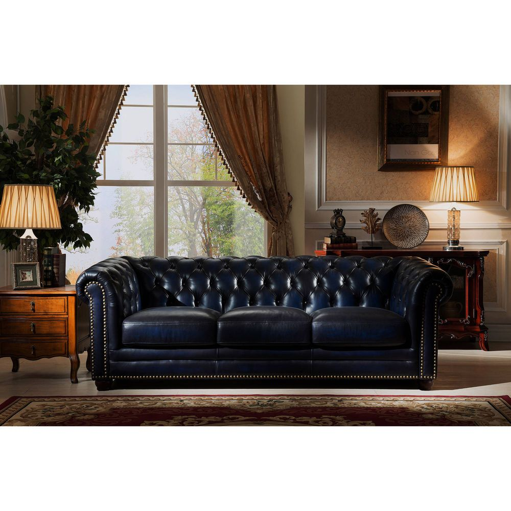 Leather Tufted Furniture Blue Chesterfield Sofa Feather Down Seating Living Room Ebay This Genuine Leather Leather Chesterfield Sofa