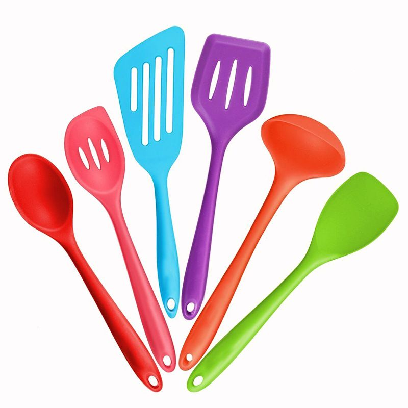6pcs Set Color Silicone Cooking Tools Nonstick Maker Kitchen Tableware Baking Accessories Supplies Gear