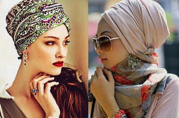 повязать шарф платок на голове красиво