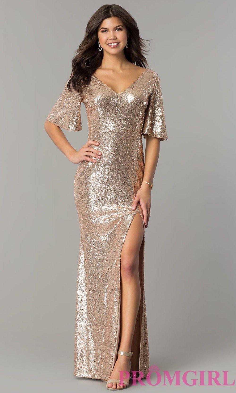 Bellsleeve long sequin formal dress promgirl evening dresses