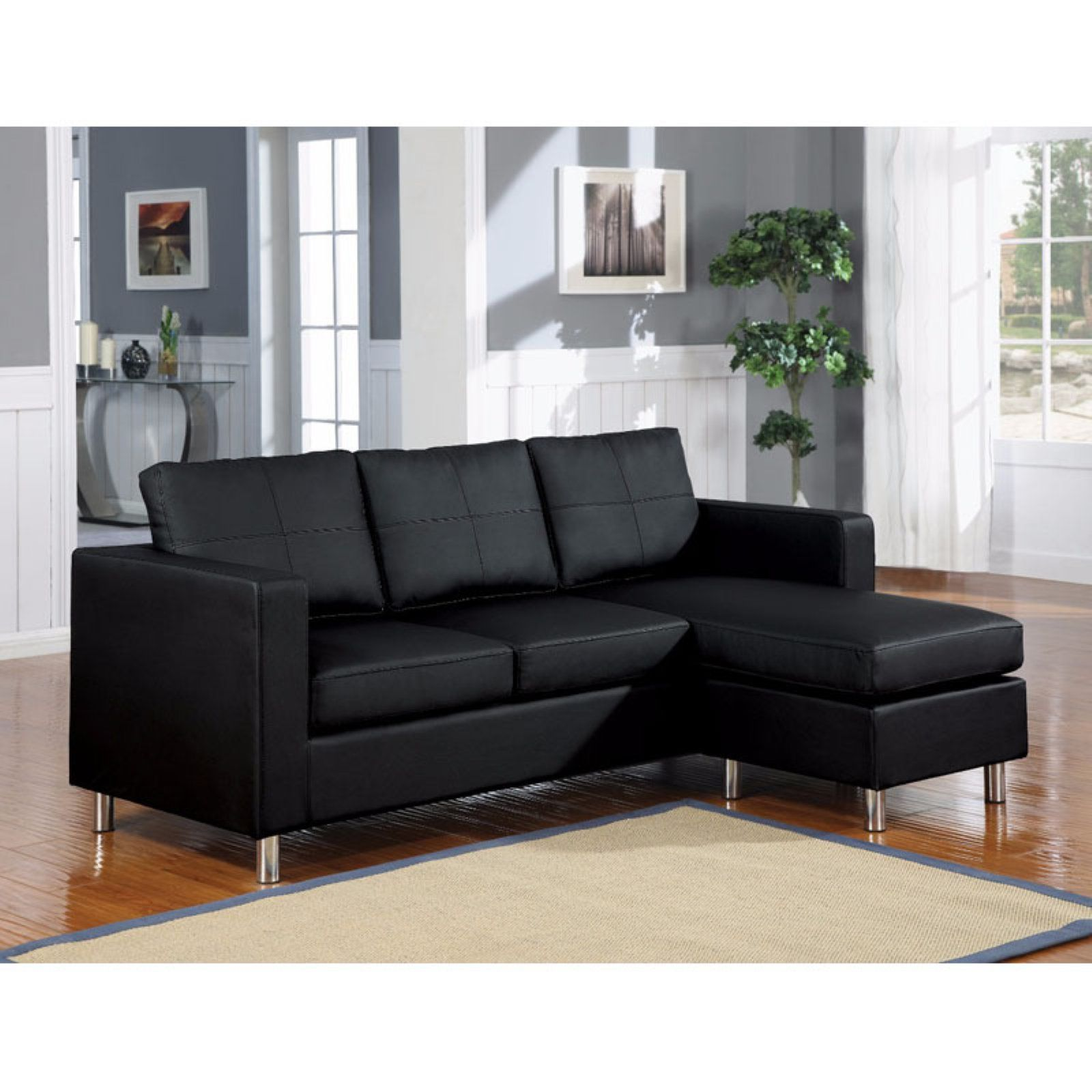 Benzara Chic Convertible Sectional Sofa Black | Products in ...