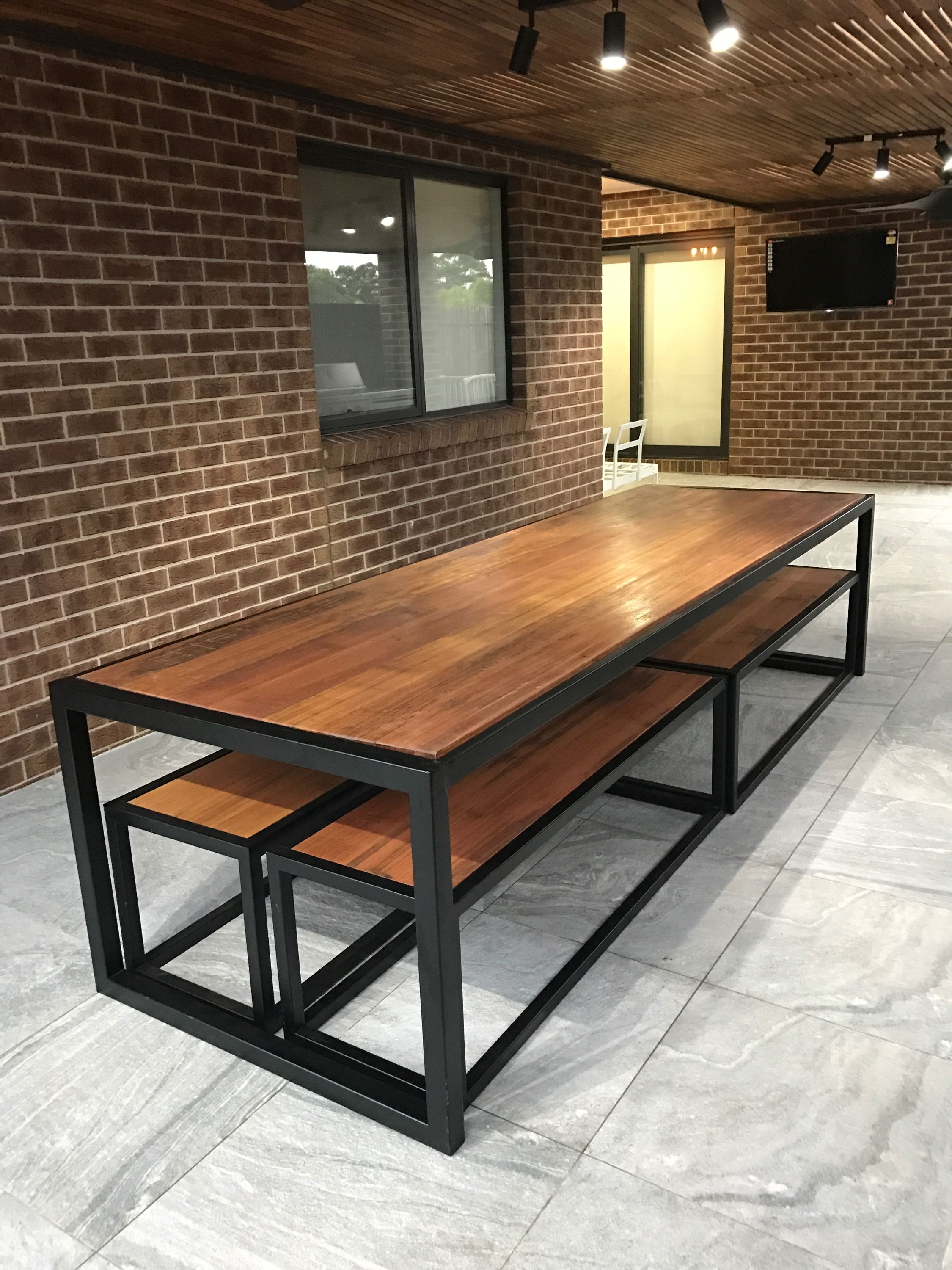 Recycled Tasmanian Oak Industrial Dining Table And Bench Seats