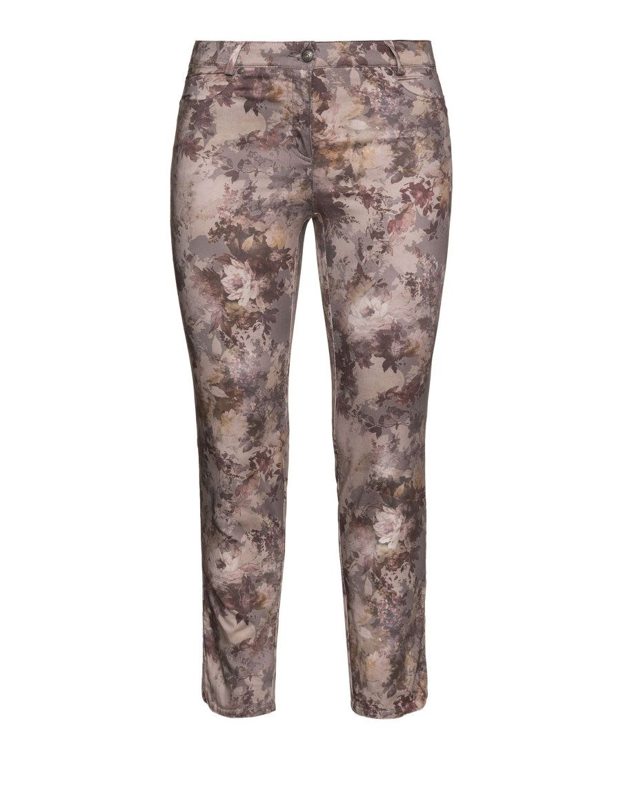 Steilmann Slim Fit Hose Betty Mit Blumen Print In Taupe Grau / Rosa